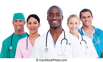medizin, positiv, mannschaft- portrait