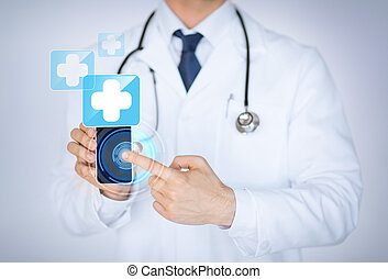 medizin, smartphone, app, besitz, doktor