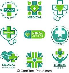 Medizinische Logos. Medizin Apotheke Klinik oder Krankenhaus Kreuz plus Gesundheits-Vektor-Symbole Design Vorlage
