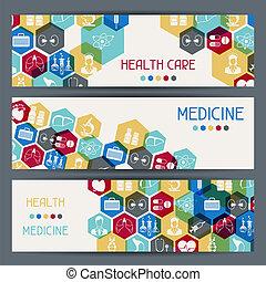 Medizinische und gesundheitliche Betreuung horizontale Banner.