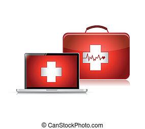 Medizinische Unterstützung Technologie Illustration Design.