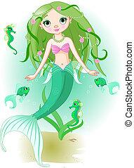 Meerjungfrau unter dem Meer