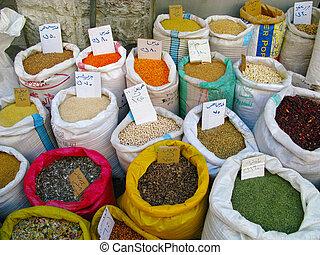 mehrere, jordanien, markt, gewürz