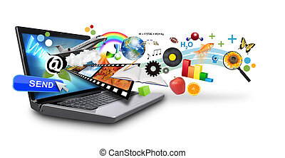 Mehrere Medien-Internet-Laptop mit Ob