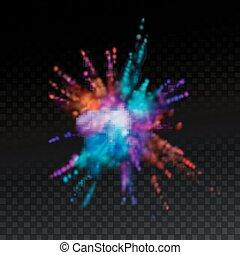 Mehrfarbige Sprengwolke aus Pulverfärbung