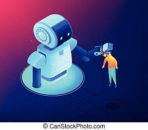 Mensch-Roboter Interaktionskonzept vektor isometrische Abbildung.