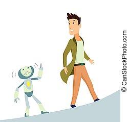 Mensch und Roboter. Konzept der Interaktion mit künstlicher Intelligenz. Vector Illustration.