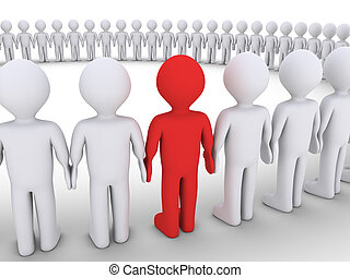 Menschen bilden einen großen Kreis und einer ist anders