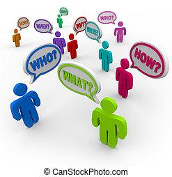 Menschen, die Fragen in Redebläschen stellen, suchen Unterstützung