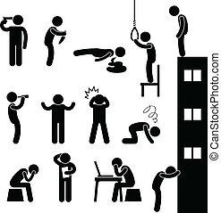 Menschen, die Selbstmord begehen, töten Depressionen