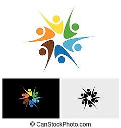 Menschen feiern & haben Spaß oder Freunde teilen Freude & Glück - Vektorlogo Icon