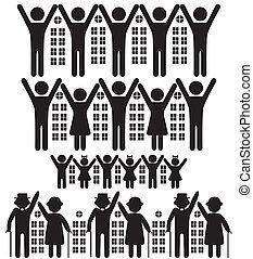 Menschen, Gebäude