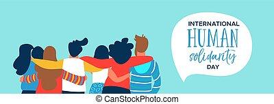 Menschen-Solidar-Banner der glücklichen Freunde-Gruppe Umarmung.
