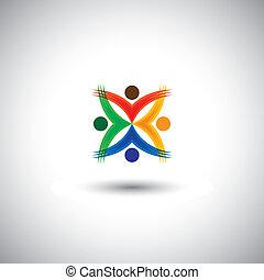 Menschen zusammen mit Spaß & Unterhaltung - Konzept Vektorgrafik. Diese Icons Illustration Icons können Kinder und Kinder genießen, Freunde feiern, aufgeregte Gemeinschaft, glückliche Mitarbeiter