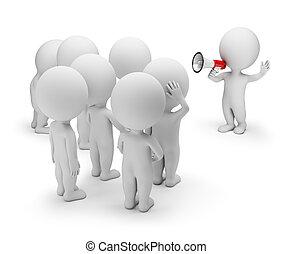 menschenmasse, -, sprechende , klein, 3d