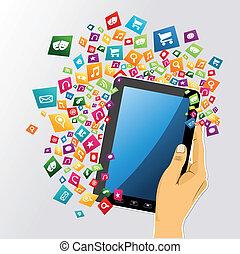 Menschliche Hand, digitale Tafel pc app Ikonen.