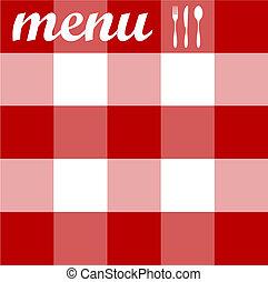 Menu-Design. Cutlery auf roter Tischdecke