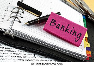 merkzettel, bankwesen, stift, tagesordnung