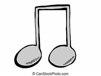 merkzettel, gekritzel, musik