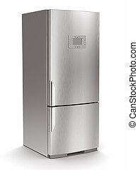 Metallischer Kühlschrank auf weißem Hintergrund.