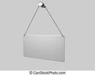 Metallschild auf weißem Hintergrund
