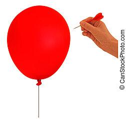 metapher, balloon, bersten, -, hand, weißes, wurfpfeil, blase, backgro