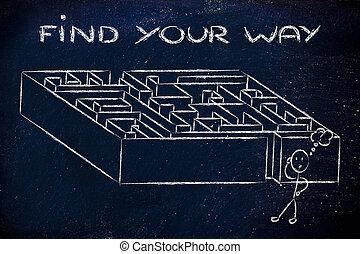 metapher, design:, finden, weg, labyrinth, dein