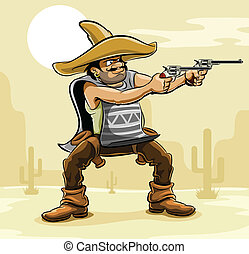 Mexikanischer Bandit in Prärie