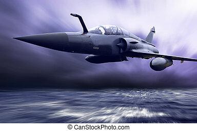 Militärflugzeug auf Geschwindigkeit