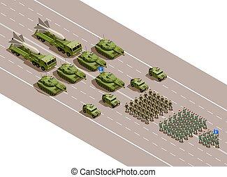 Militärparade isometrische Zusammensetzung.