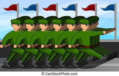 Militärparade-Konzept-Banner, Zeichentrickfilm