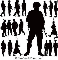 militaer, silhouetten