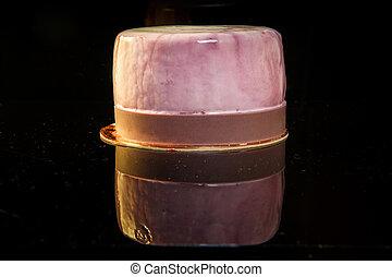 mini, zuckerguß, nachtisch, mousse, closeup, selbstgemacht, violett, torte