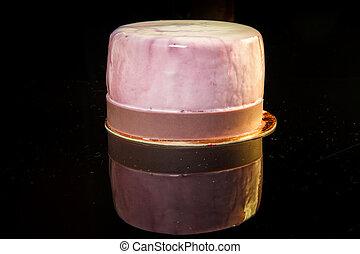 mini, zuckerguß, nachtisch, mousse, köstlich, closeup, violett, torte