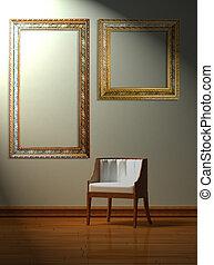 minimalist, stuhl, alleine, inneneinrichtung