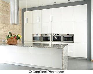 Minimalistische weiße Küche mit eingebauten Geräten.