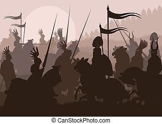 Mittelalter Ritter in Kampfvektoren