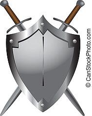 Mittelalterliche Schwerter mit Schild