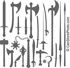 Mittelalterliche Waffen Silhouette.