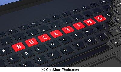 mobbing, closeup, schwarz, wort, tastatur