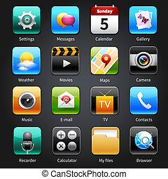 Mobile Anwendungen Symbole.