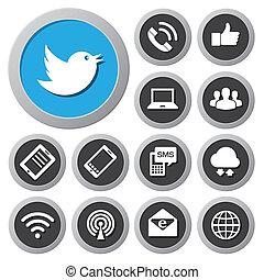 Mobilfunkgeräte und Netzwerk-Ikonen aktiviert.