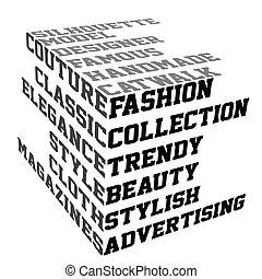 mode, bedingungen, typographie