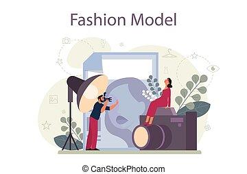 mode, mann- frau, kleidung, neues modell, concept., darstellen