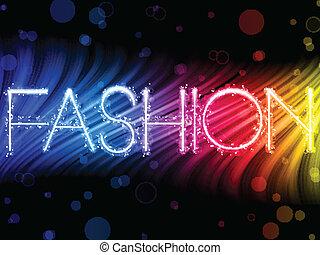 Mode mit abstrakten farbenfrohen Wellen im schwarzen Hintergrund
