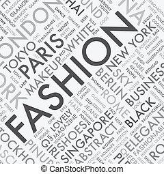 mode, wort, typographie, etikett, t, wolke