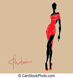 Modefrau in rotem Kleid.