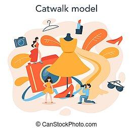 modell, concept., neue frau, darstellen, mode, mann, kleidung