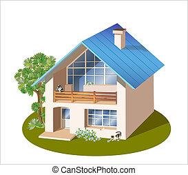 Modell von drei Dimensionen Familienhaus