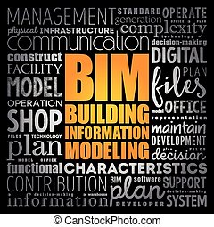 modellieren, -, bim, gebäude, wort, informationen, wolke